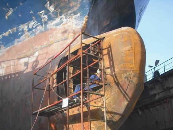 Bulb Repair on drydock