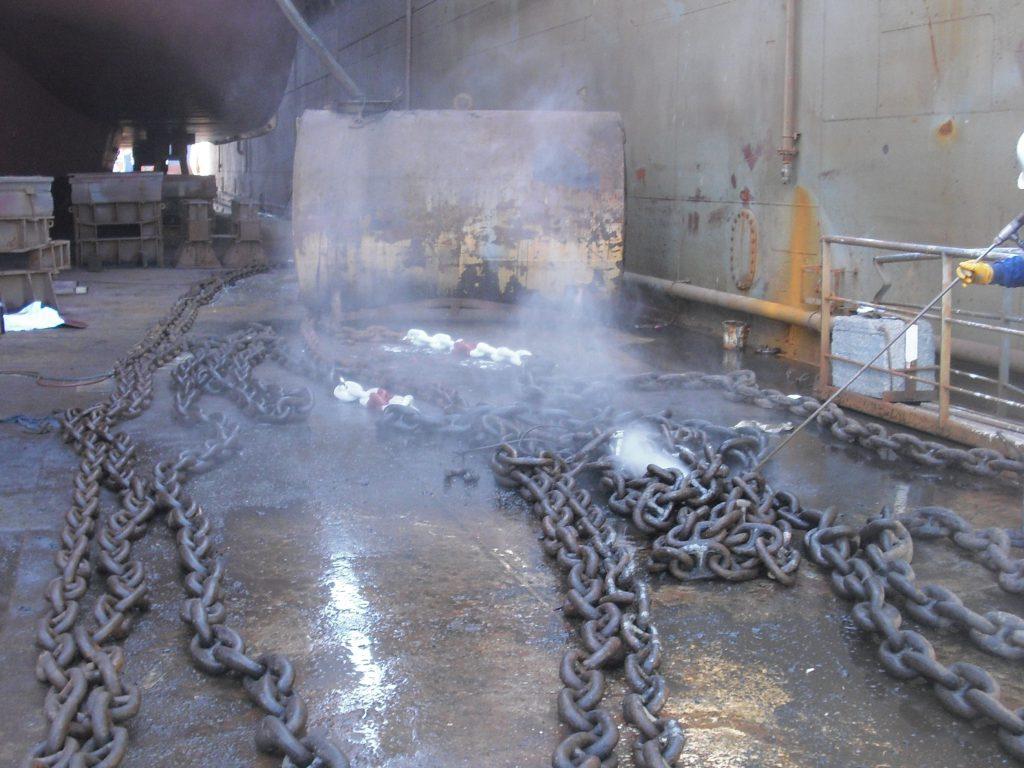 Drydock chain washing