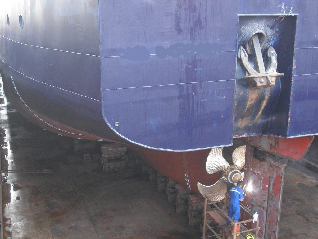 Drydock rudder welding