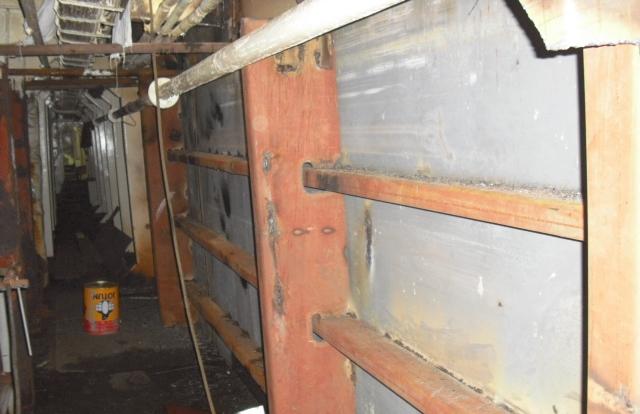 Steel works inside of tunnel
