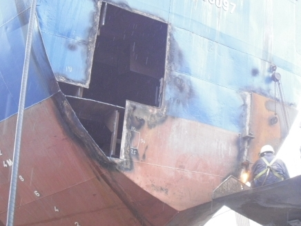 Steel works on aft side of vessel