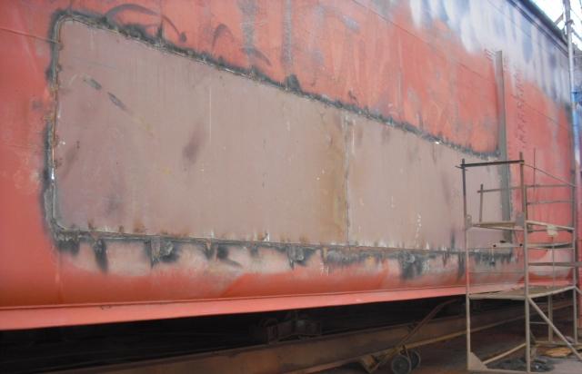 Steel works on board side