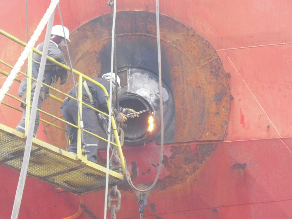 anchor hawse hole repair