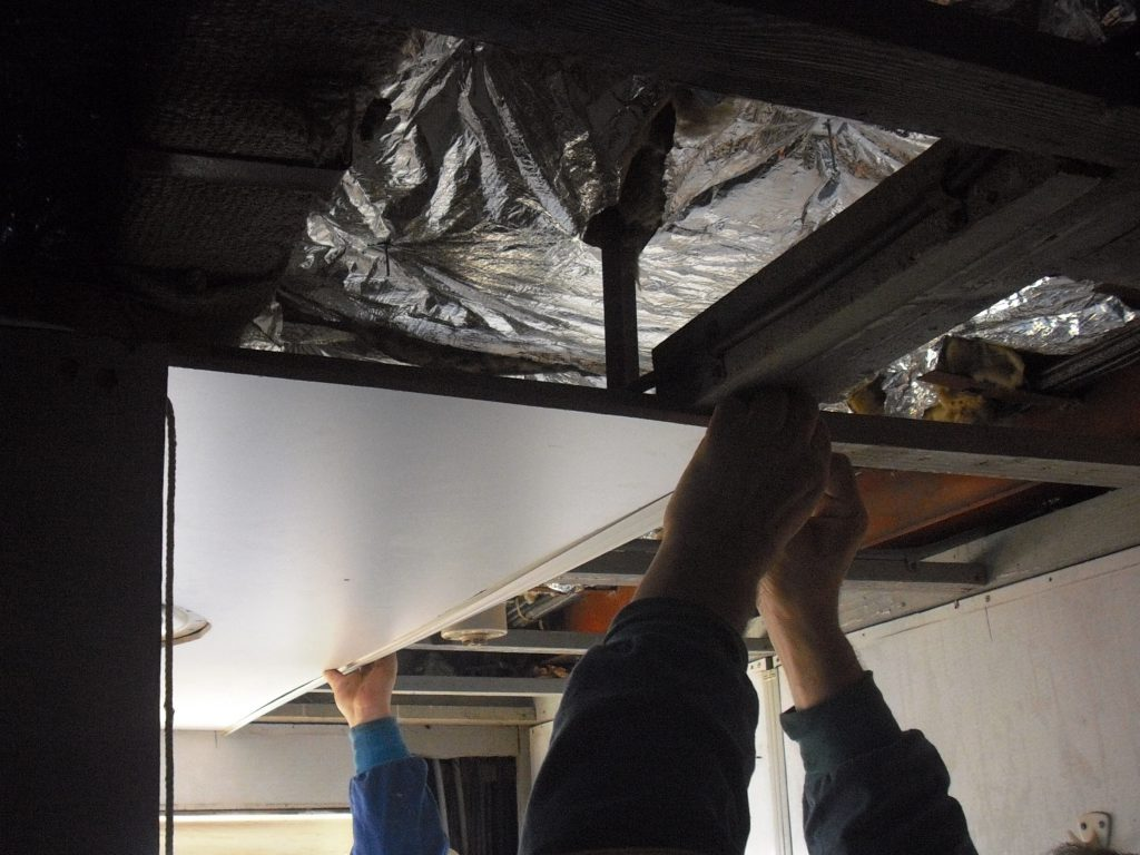 marine ceiling panel and insulation